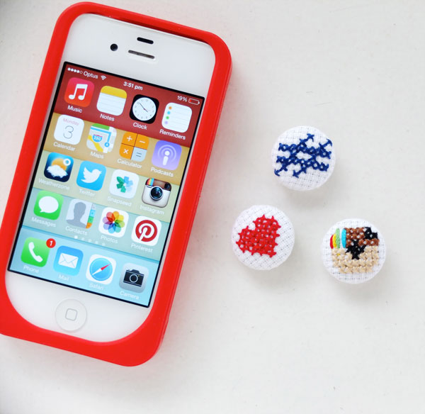 iPhone and cross stitch buttons