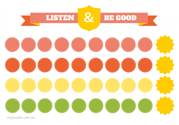 Listen & Be Good Printable Reward Chart | My Poppet Makes