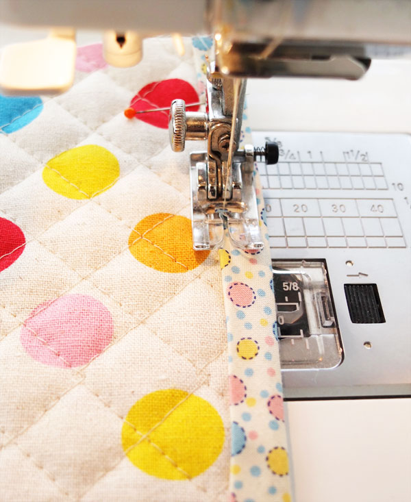 Sew binding catching back edge