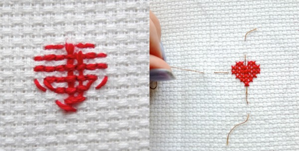 finishing your cross stitch heart