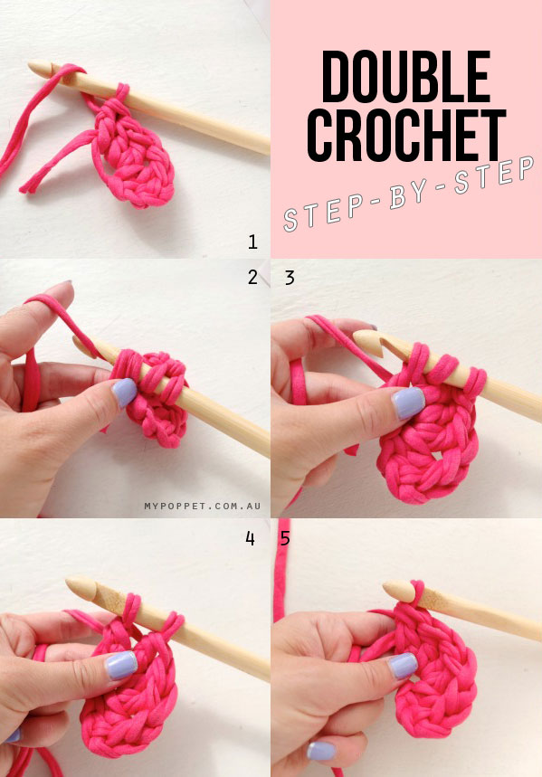 Double crochet step by step  pictures
