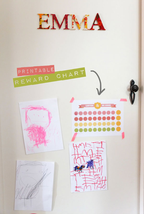 printable reward chart Listen & Be Good mypoppet.com.au behaviour chart