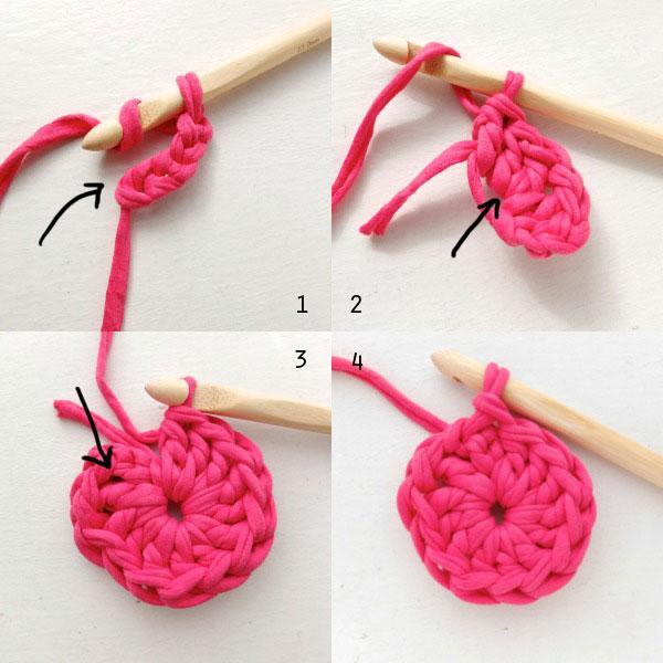 heart crochet basket base first round