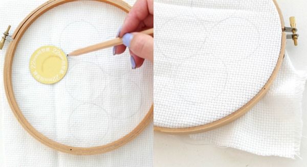 Mark button templates into fabric , place fabric in embroidery hoop