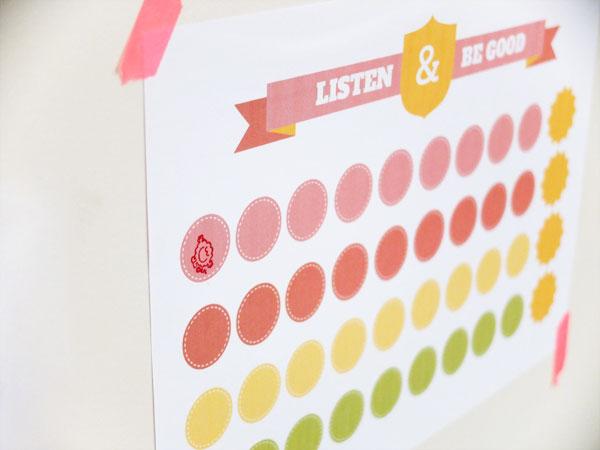 printable reward chart Listen & Be Good mypoppet.com.au