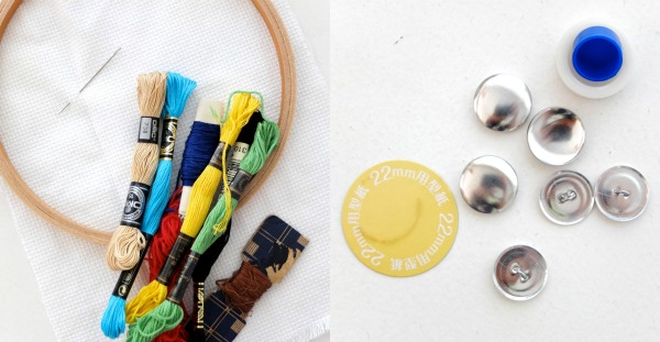 materials required for embroidered self covered buttons