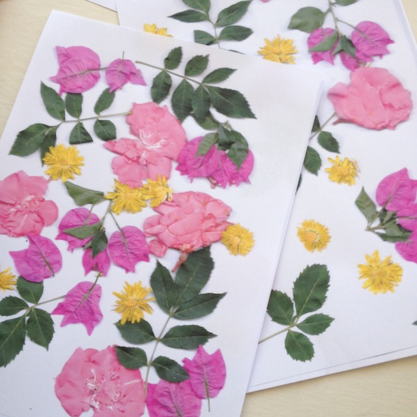 Sheets of floral wrapping paper