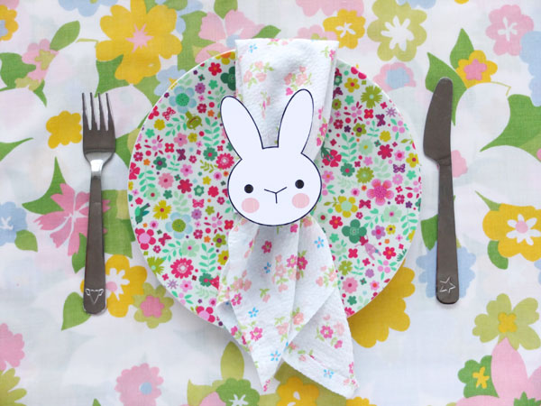 Bunny face napkin ring for easter