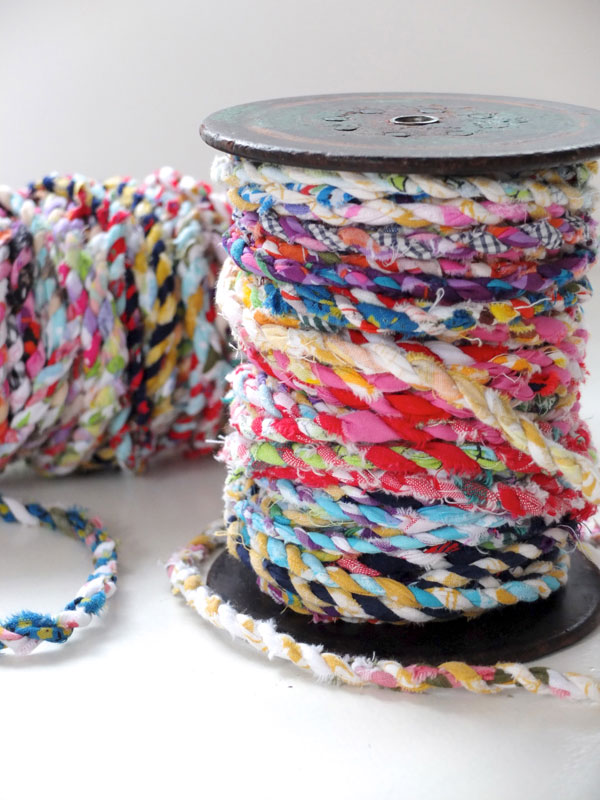 Gorgeous twine made from scrap fabric