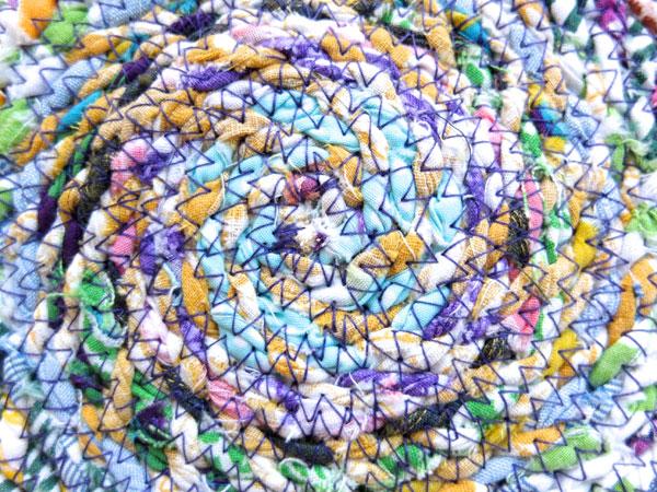 Zig zag stitch with fabric twine close up