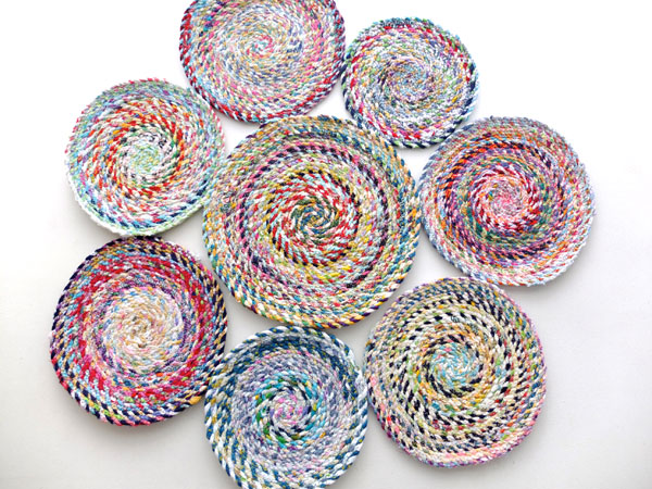 Lay out circles to design your scrap rug