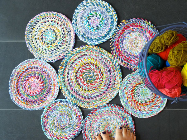 DIY handmade fabric scrap rug from twisted twine mypoppet.com.au