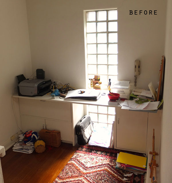 messy office space before