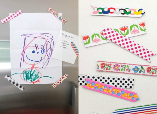 Washi tape magnets are perfect for kids artwork on the fridge