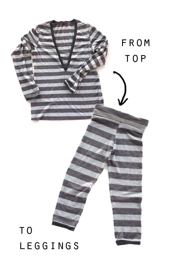 Turn a top into a pair of leggings - easy sewing
