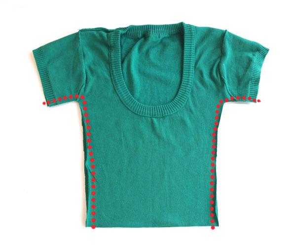 refashion a woman's knit top into a girl's dress mypoppet.com.au