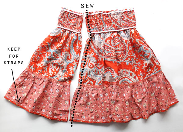 refashion a skirt into a girl's dress