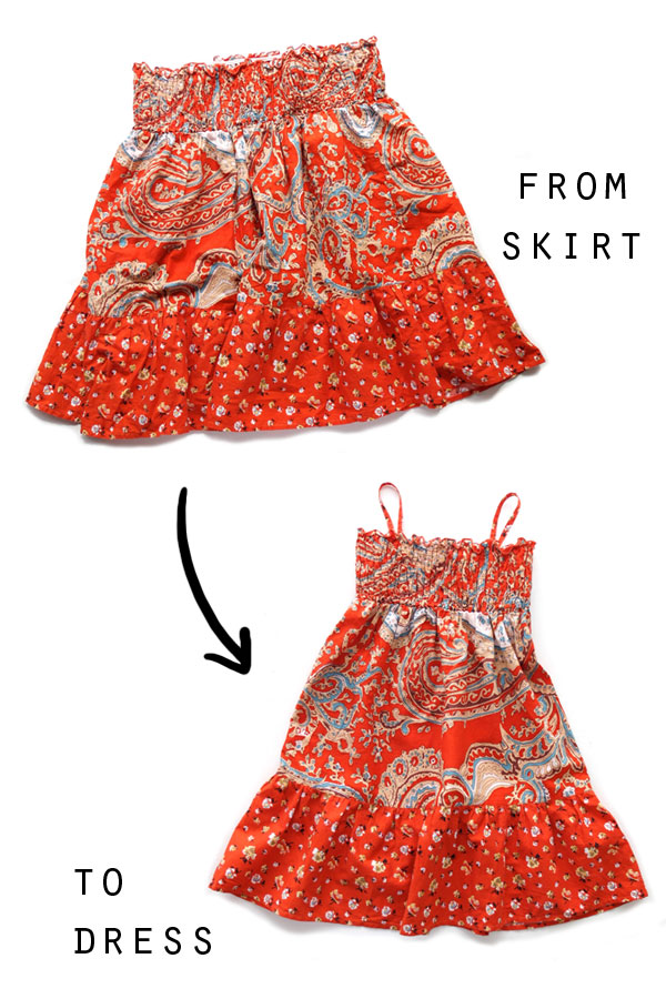 turn an old skirt into a sundress for a girl