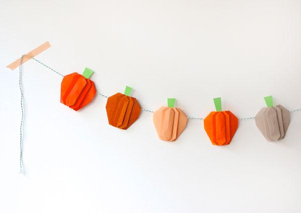 paper pumpkin garland
