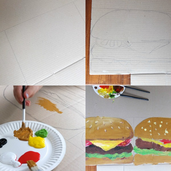 how to make a giant hamburger postcard