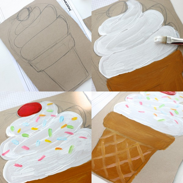 paint ice cream cone onto cardboard