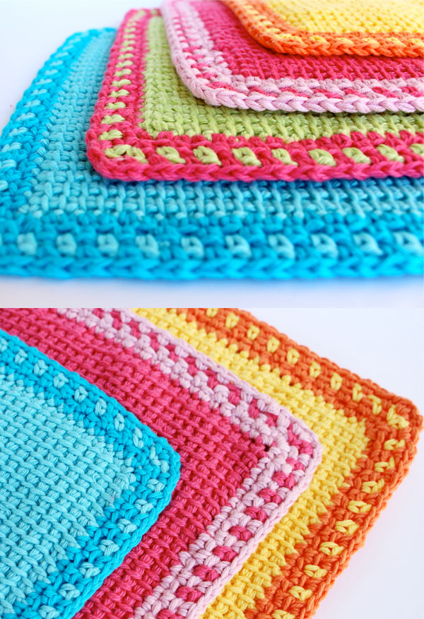 Tunisian Crochet Washcloths My Poppet Makes