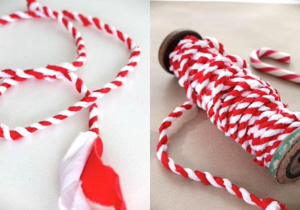 let's make Candy cane fabric twine for christmas gift wrapping mypoppet.com.au
