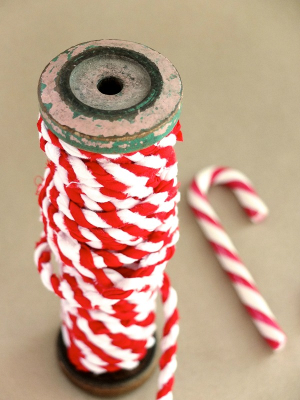 Candy cane fabric twine on vintage spoolmypoppet.com.au