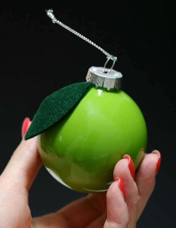 Apple fruit glass christmas ornament mypoppet.com.au