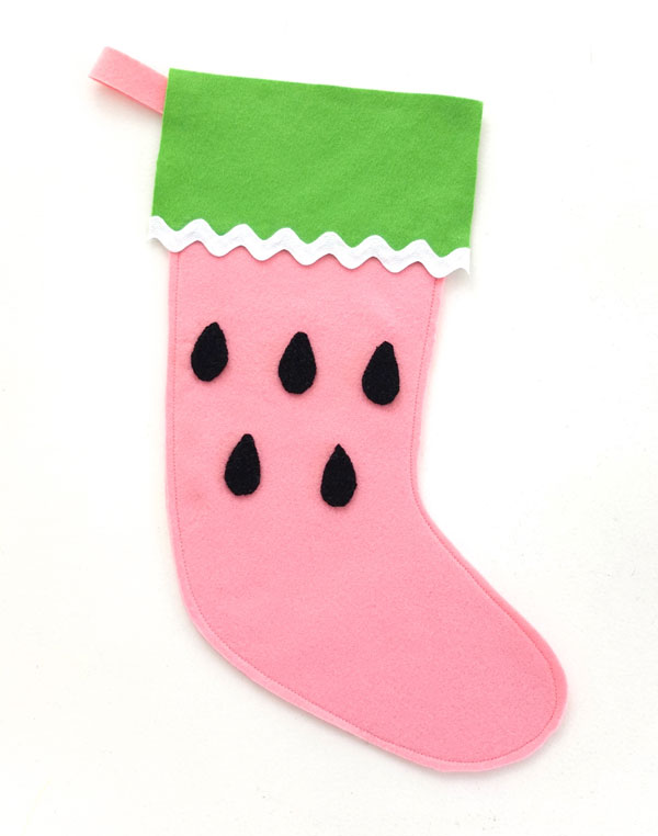 Let's make a felt watermelon christmas stocking mypoppet.com.au