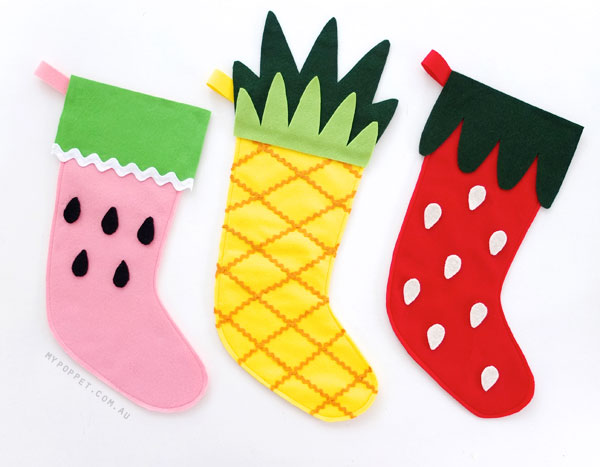 DIY Fruity Christmas Stockings with template by Mypoppet.com.au