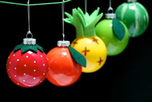 Turn plain glass baubles into colourful retro fruit christmas ornaments mypoppet.com.au
