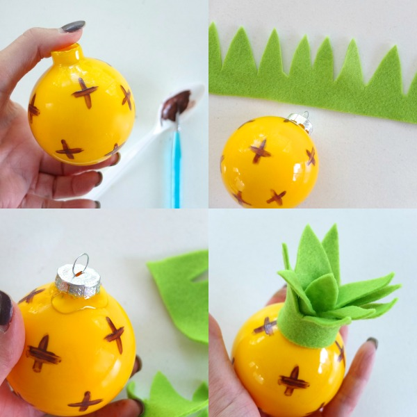 Diy glass pineapple christmas ball ornament mypoppet.com.au