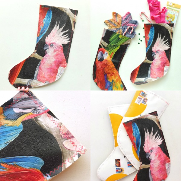 Make a christmas stocking shaped gift pouch from wallpaper samples mypoppet.com.au